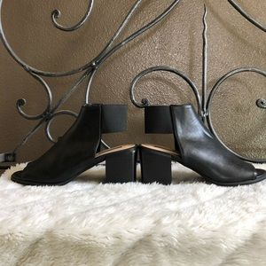 Black Ankle Open-Toe Boots (5.5)